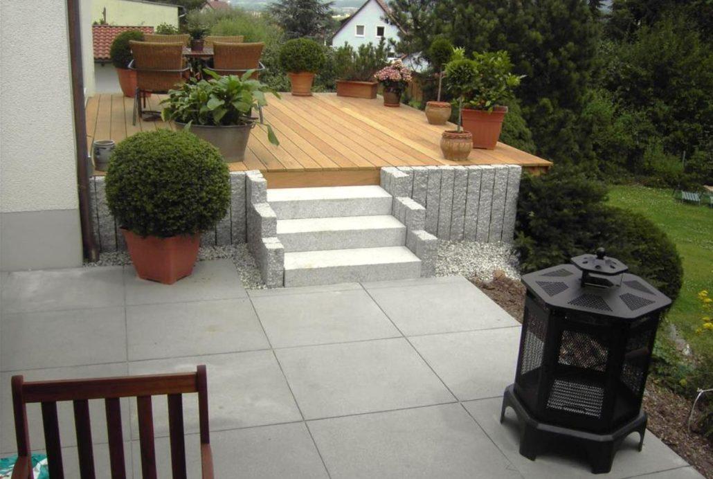 Holzterrasse und Steinarbeiten Gartenbau Schmaußer GbR